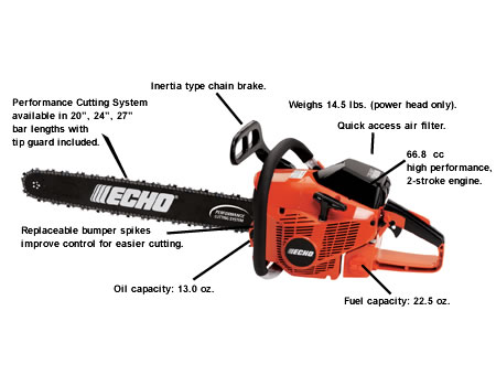 "ECHO CS-680 Professional 66.7cc Chainsaw with 24"" bar"