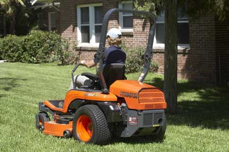 The Z-Series mower deck features a discharge chute crafted from a flexible but- sturdy material, which helps reduce damage to landscaping.