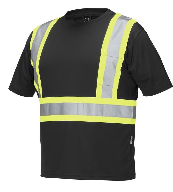 Hi Vis Safety Tee Shirt Short Sleeve Crew Neck with Chest Pocket (Black)