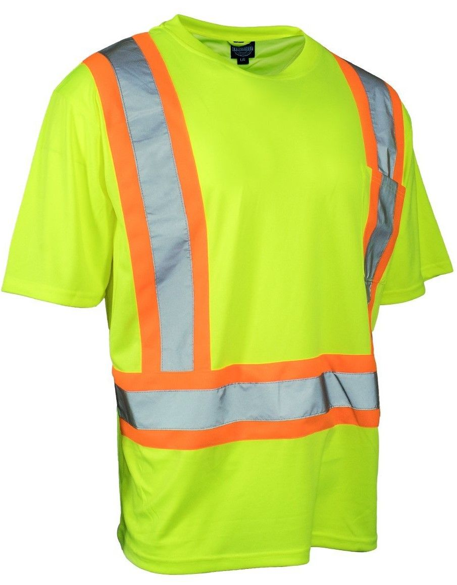 Hi Vis Safety Tee Shirt Short Sleeve Crew Neck with Chest Pocket (Lime)