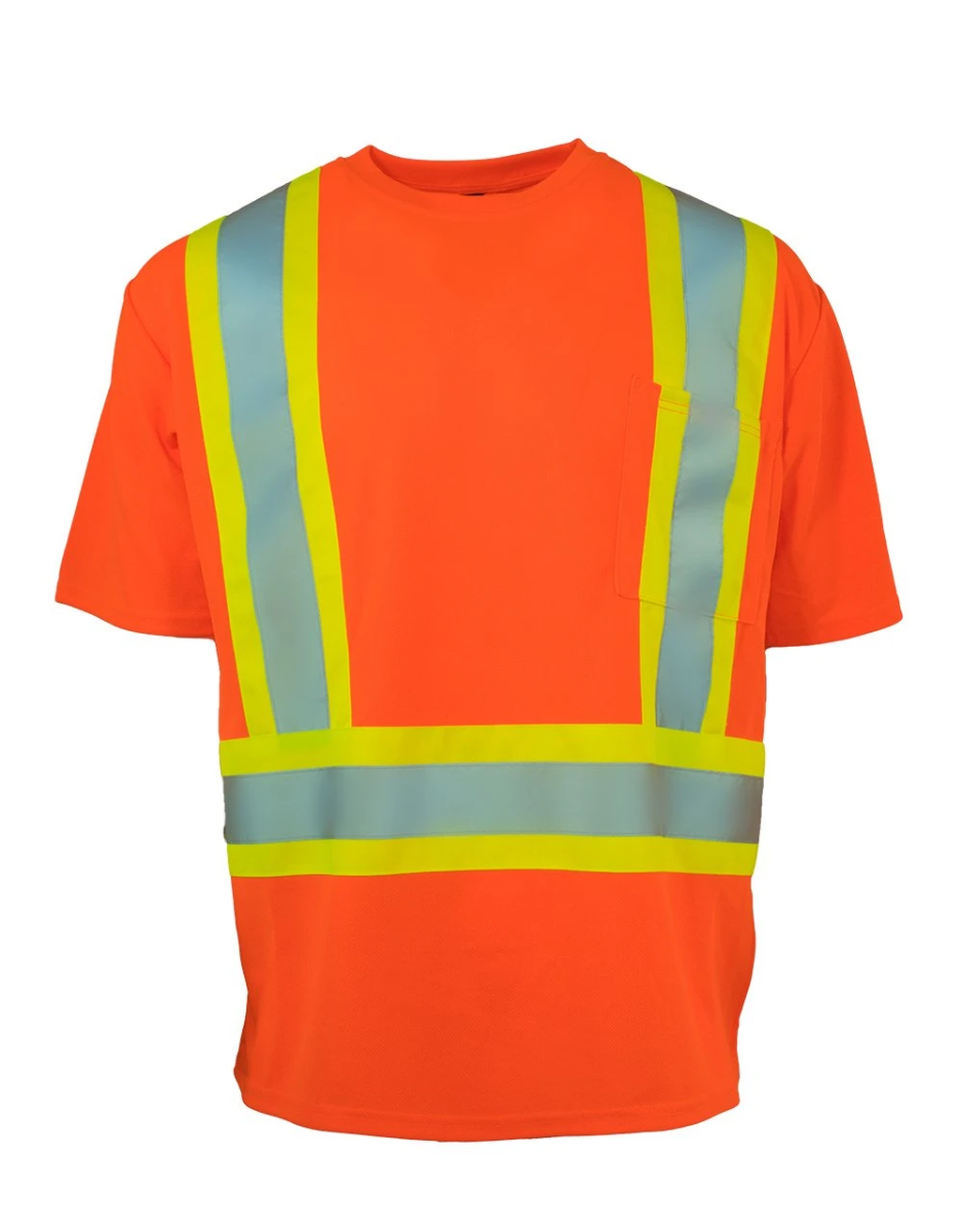 Hi Vis Safety Tee Shirt Short Sleeve Crew Neck with Chest Pocket (Orange)