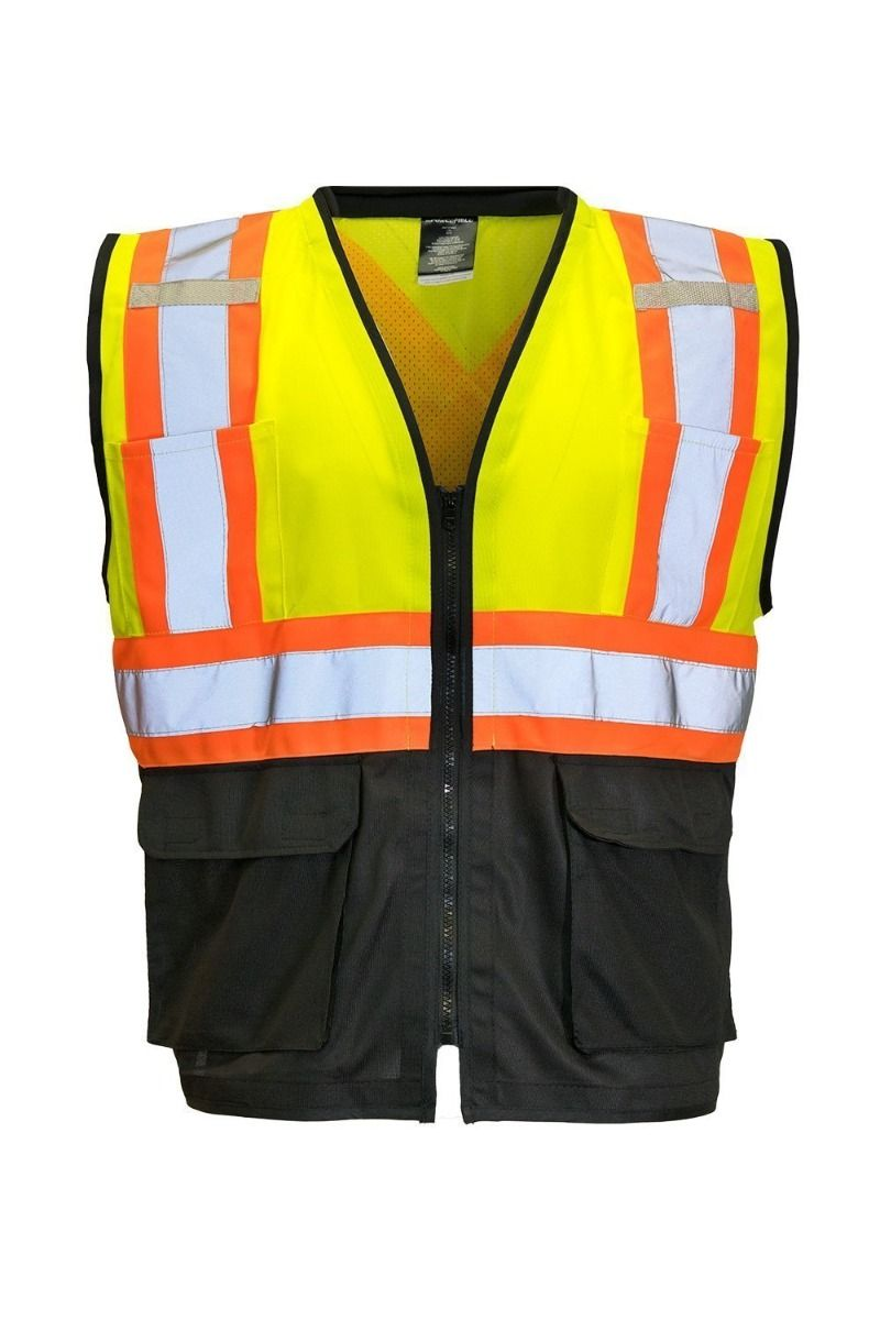 Hi Vis Traffic Safety Vest with Zipper Front (Lime)