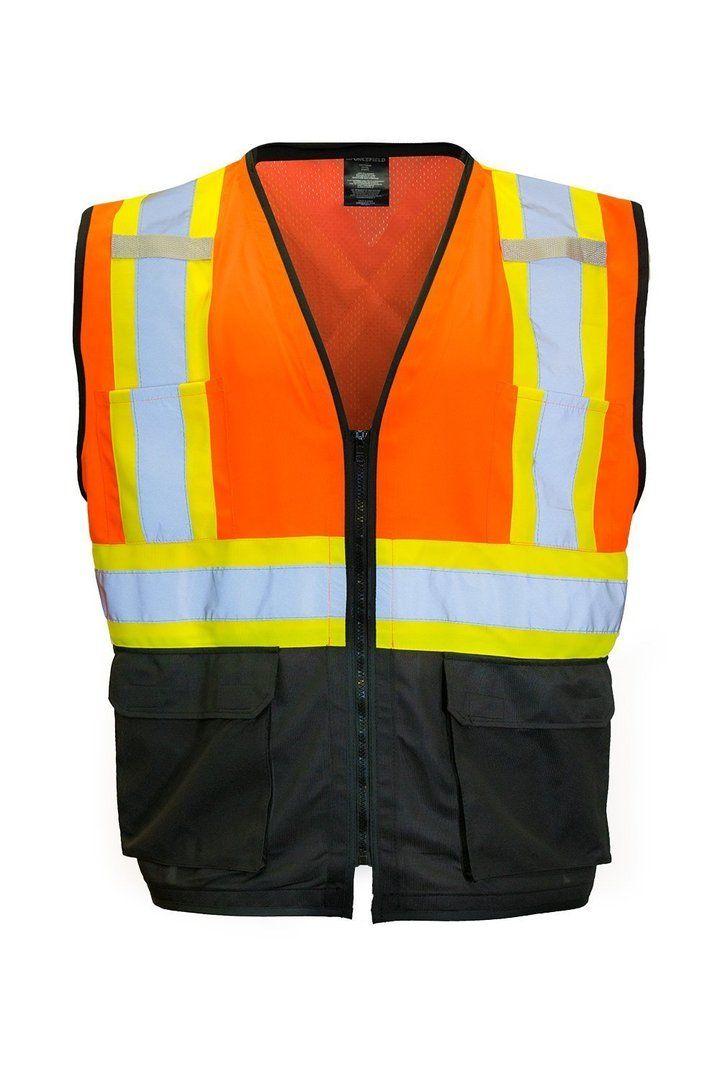 Hi Vis Traffic Safety Vest with Zipper Front (Orange)