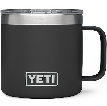 Black YETI 14oz Rambler Mug with Standard Lid