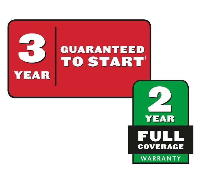Enjoy peace of mind knowing Toro stands behind its mowers with a 3-year guarenteed-to-start engine warranty and a 2-year full warranty. Count on it.