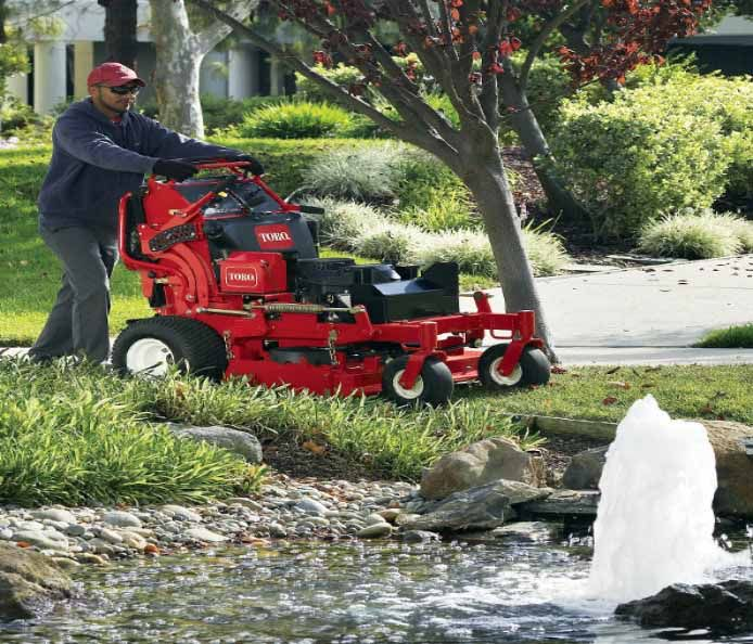 GrandStand® mowers feature a unique suspension system for a smooth ride over the roughest terrains, plus a retractable platform that allows for operation from both stand-on and walk-behind positions.
