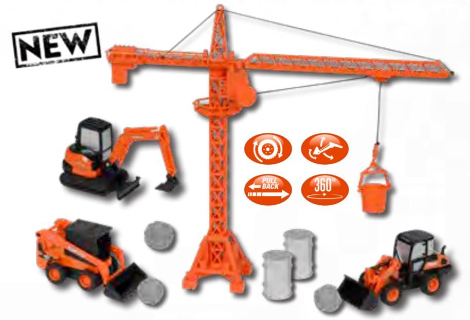 Kubota Diecast Construction Equipment & Crane Playset