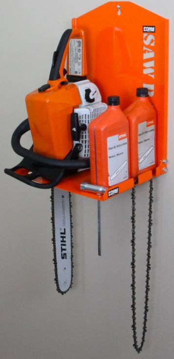 Farm Garage Solutions Chainsaw Rack securely holds your chainsaw, oil, spare chains, sharpener and bar T wrench neatly and securely