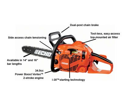 ECHO CS352 chainsaw with descriptions