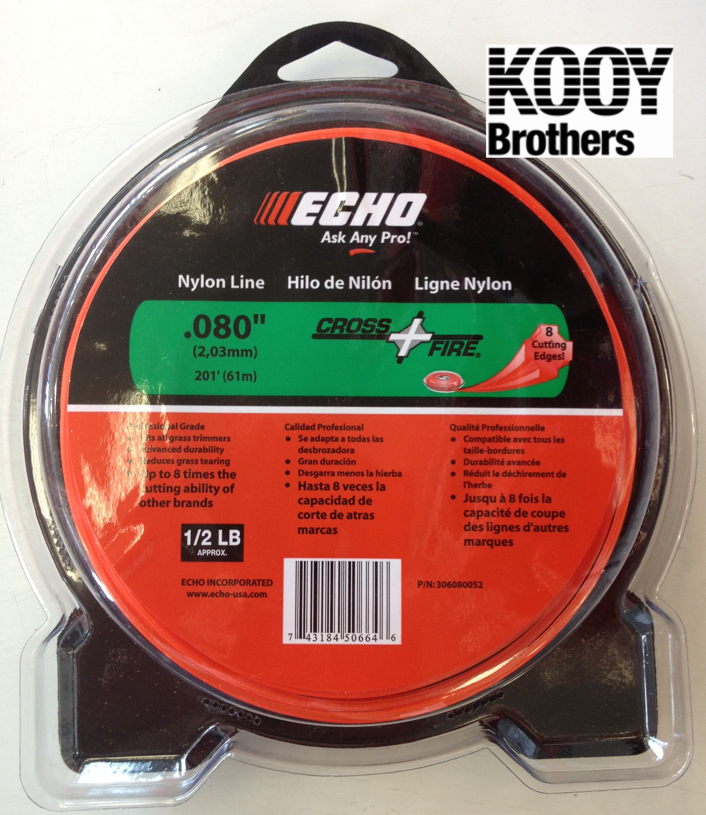 "ECHO .080"" Nylon Cross Fire Trimmer Line"