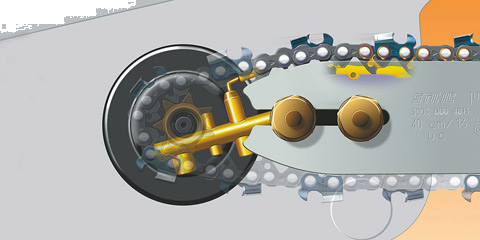 The Ematic chain lubrication system can reduce bar oil consumption by up t
