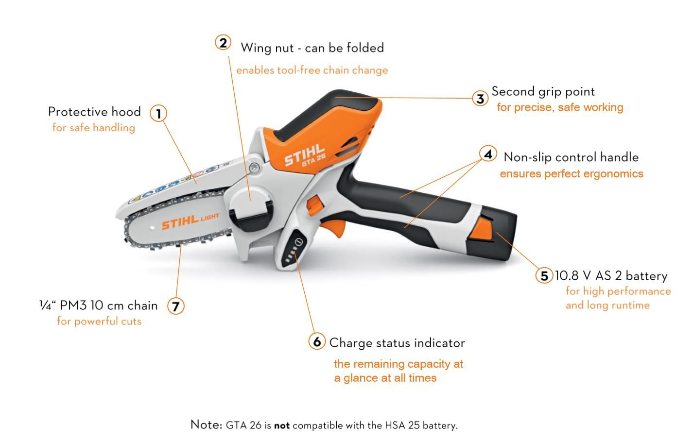 Features of the STIHL GTA 26
