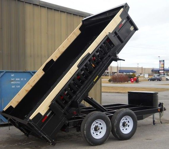 JDJ Heavy Duty Dump Tandem Trailer HDD 612 with 3' high sides (6' W x 12' L)