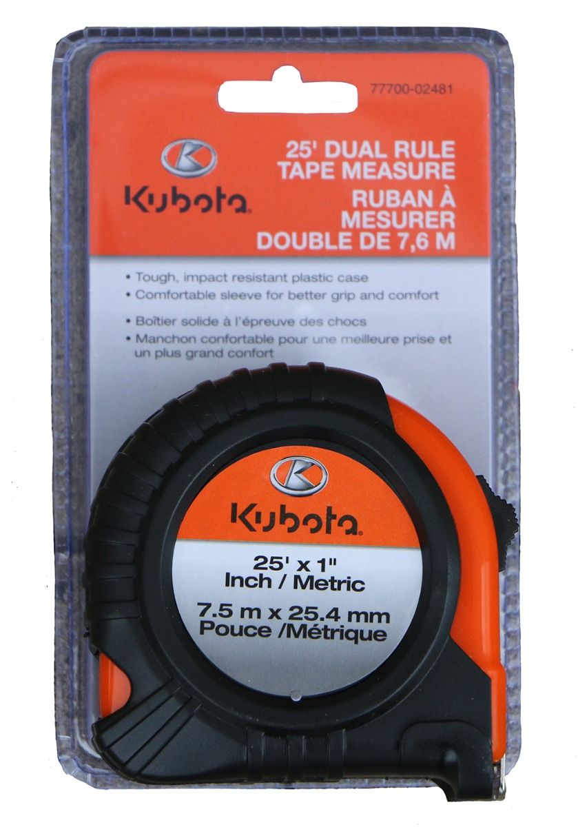 Kubota measuring tape with tough impact resistant plastic case