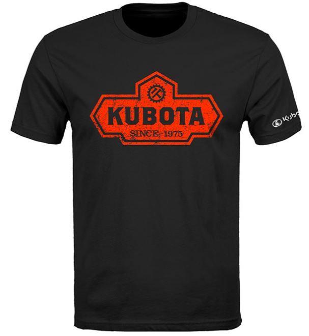 KUBOTA VINTAGE LOGO DISTRESSED T-SHIRT in black with orange logo
