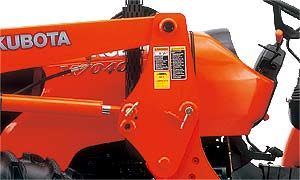 The frame of the front loader maintains its sturdy, thick steel frame, but its design has been simplified by removing braces and connectors.