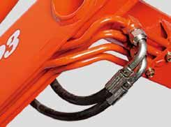 For maximum protection and longer life, we routed all hydraulic hoses through the loader arms. Other benefits include improved visibility and cleaner looking front loader design.