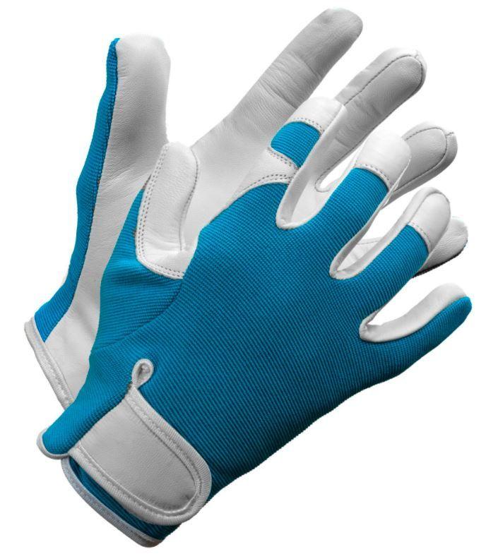 Ladies Leather Garden gloves in teal