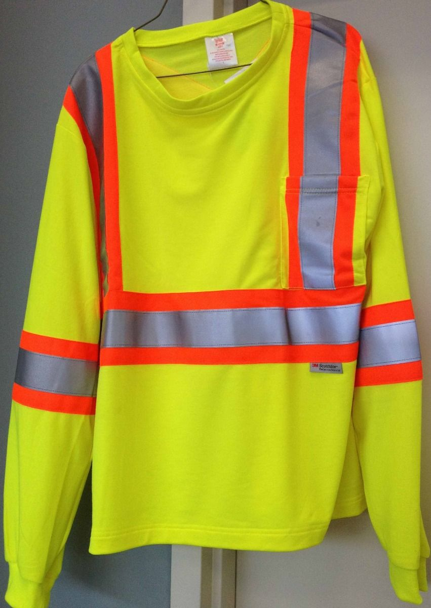 STIHL Lime Green Long Sleeve Safety T-shirt with Reflective Striping