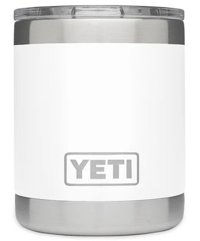 White YETI Rambler 10oz Lowball with Standard Lid