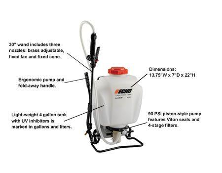 ECHO MS-41BP sprayer with descriptions