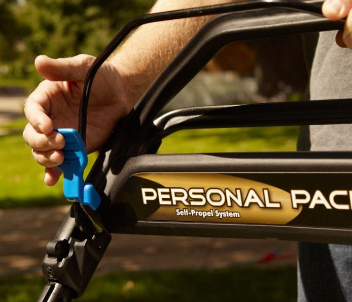 Personal Pace Self Propel - automatically senses and adapts to your walking speed. Walk faster and the mower self propels faster to match your pace.