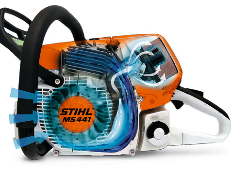 STIHL long-life air filtration systems with pre-separation achieve perceptibly longer filter life compared with conventiona