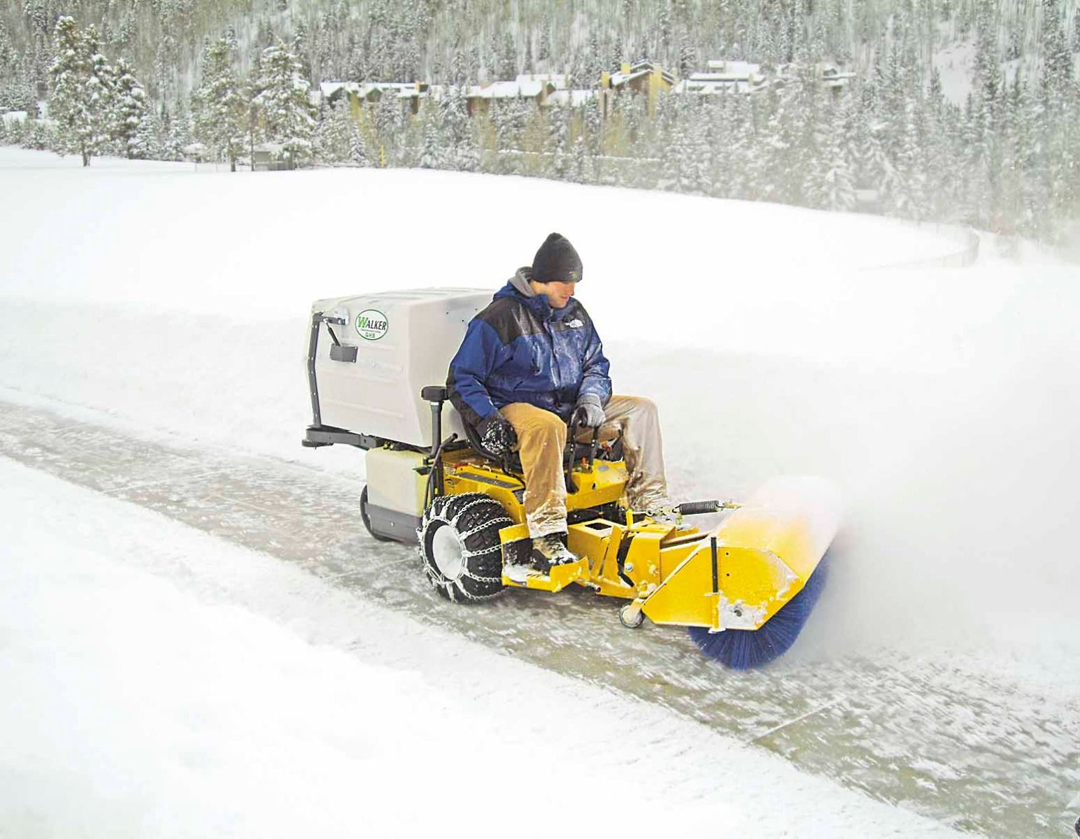 Ideal for sweeping light snow on hard surfaces