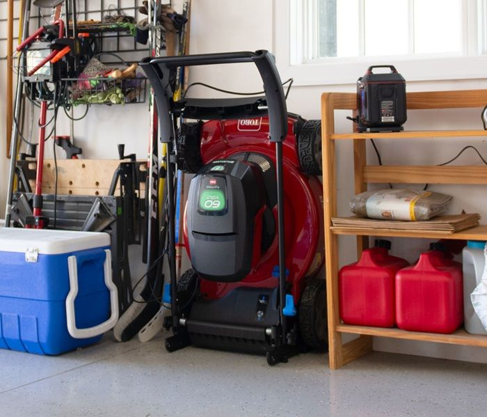 Now you can fold, lock and store your Toro practically anywhere in your garage or shed with SmartStow® - Proven to reduce the storage footprint by up to 70%, and provides easy access to clean under the deck and service the blade.