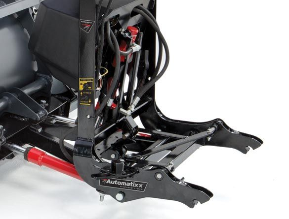 The Automatixx™ attachment system provides fast and easy snowplow hook-up that can all be handled from one side of the truck.