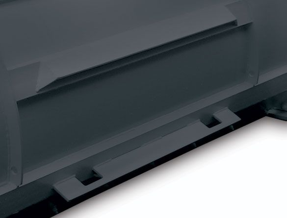 Universal plate attachment system features fully formed gussets that support both the upper and lower posts.