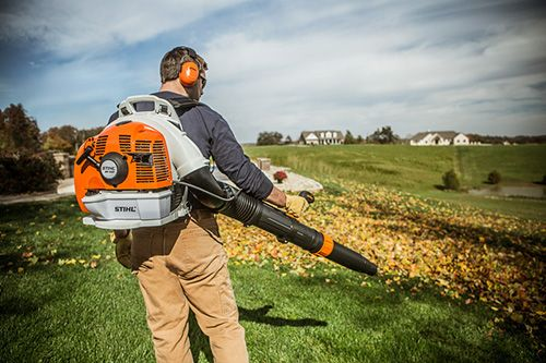 Stihl BR 450 Backpack Blower in Use