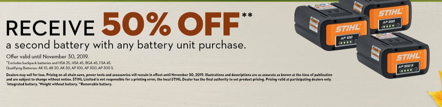 Receive 50% off a second battery with any battery unit purchase.