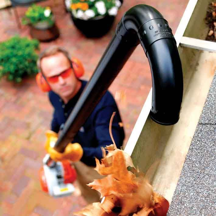 Add the Blower Gutter Kit onto your blower to clean eaves troughs quickly and easily!