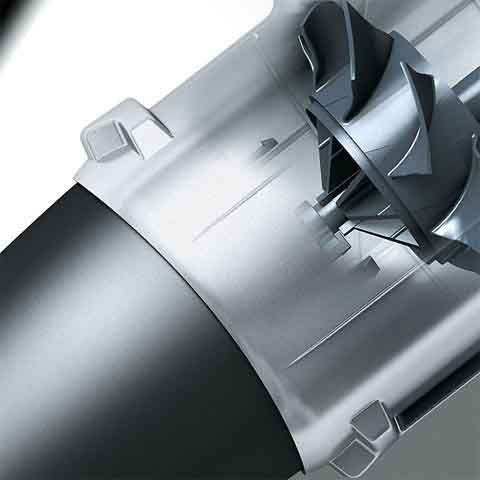 The two-stage axial blower operates like a fan to maximize the volume of high-speed air, delivering excellent blowing performance.
