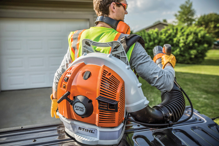 The STIHL BR700 is an ultra high-performance professional blower w/ length-adjustable blower tube and handle position adjustment.