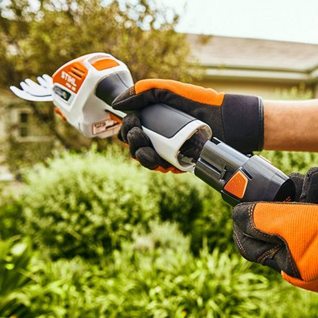STIHL HSA 26 with battery AS 2 and charger AL1.  HS2 Battery: Lightweight, compact and powerful 10.8 V battery. Compatible with all 10.8 V power tools from the STIHL AS-System (not HSA 25). 28 Wh battery power. Weight: 0.22 kg.