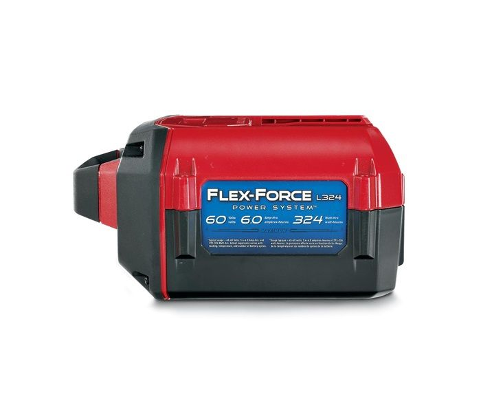 60V MAX* 6.0 Ah 324 WH Li-Ion Battery (88660) - COMES WITH THIS MOWER. The L324 battery is compatible with all Toro 60V Flex-Force Power System tools. Battery charger is compatible with all Toro Flex-Force tools (88602)