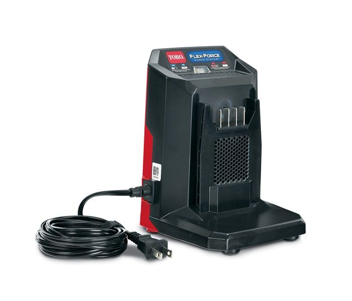 60V MAX* Li-Ion Battery Quick Charger (88602) - INCLUDED WITH THIS MOWER. The charger is compatible with the Toro Flex-Force tools and batteries. Take charge of the yard with Toro 60-Volt Flex-Force tools