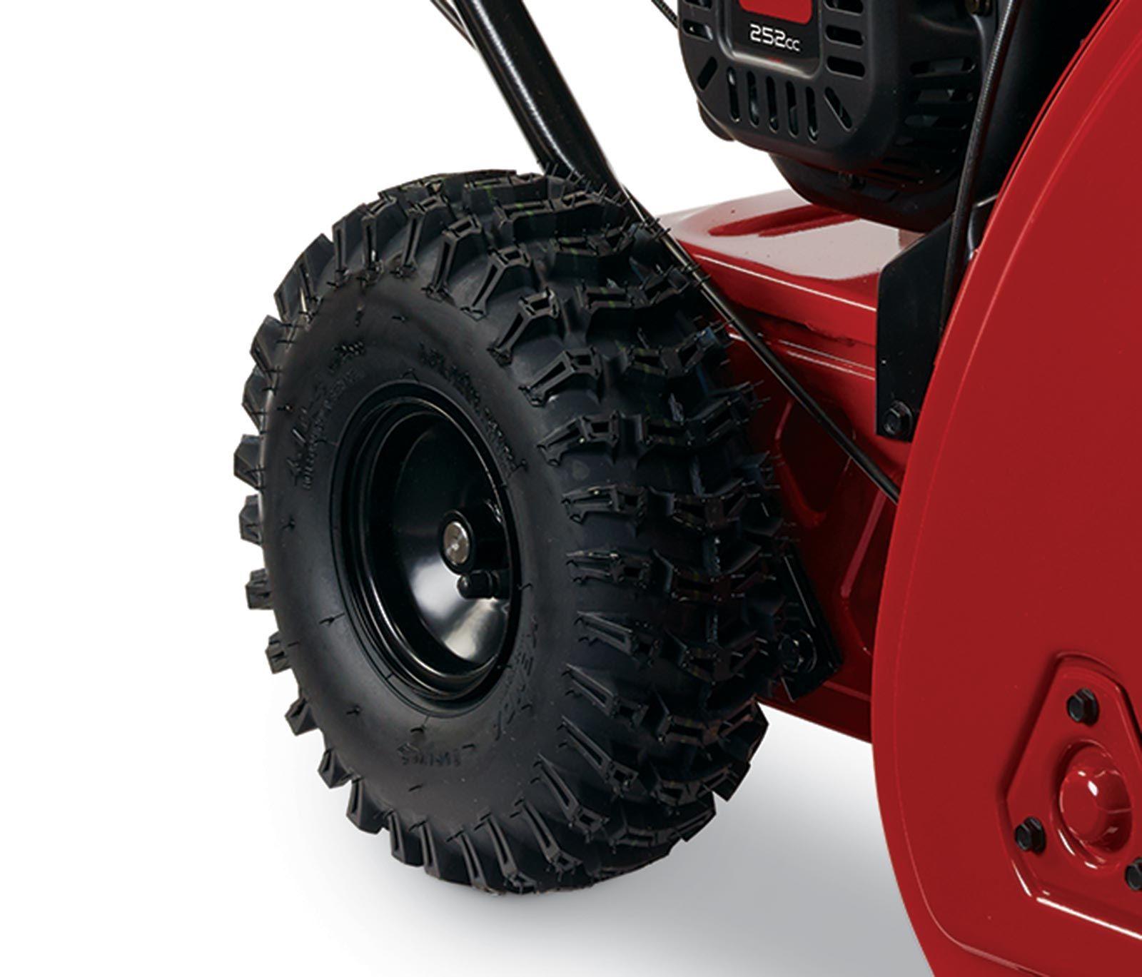 Toro Snowmaster 36002 11 inch deep lug tires - Directional deep lug wheels for added traction.