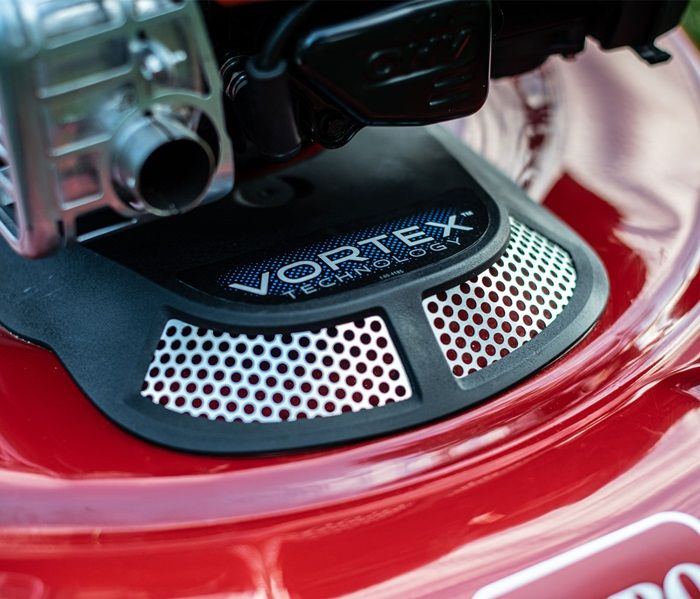 Toro's patented Vortex Technology is powered by an intake system that fuels the cutting chamber with additional airflow. The air infusion whirls grass clippings around the cutting chamber at a faster rate, either shredding them into ultra-fine clippings o