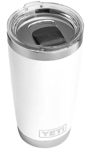 The YETI Rambler 20oz Tumbler in white comes with MagSlider Lid