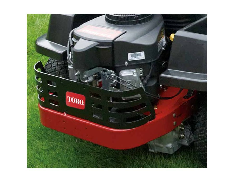 This heavy duty steel guard protects the engine from branches and debris as you nimbly maneuver around your lawn.