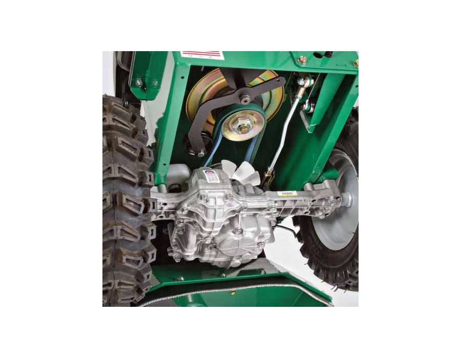 Tuff Torq Hydrostatic Transaxle - With Enhanced Traction Control is fully automatic, sensing when the rear wheel starts to spin, locking the wheel and giving it positive traction.