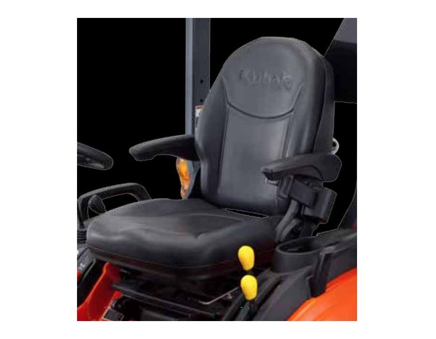Deluxe high-back reclining seat with adjustable armrests. Offering support to the back and legs so you can be comfortable on the job all day long.
