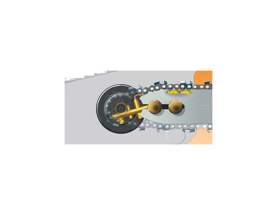 The Ematic chain lubrication system ensures pinpoint lubrication of the saw chain links and guide bar rails. - Can reduce bar oil consumption by up to 50%