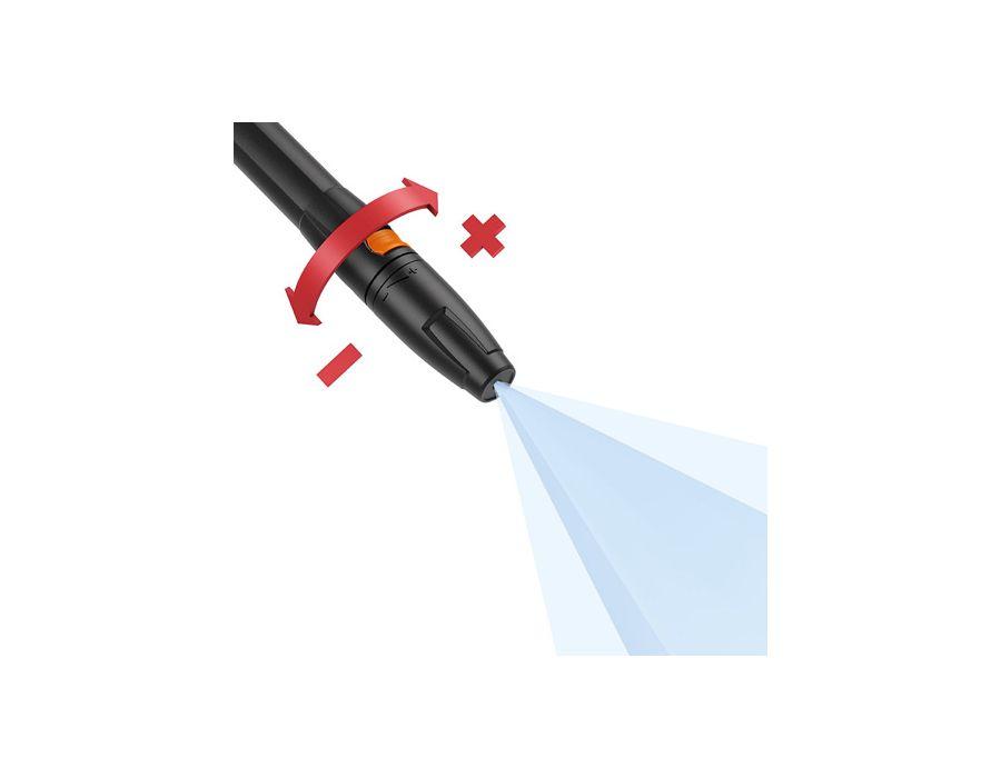 Fan jet nozzle, adjustable pressure