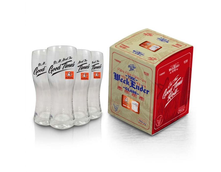 Kubota Weekender Glass 4 Pack with decorative gift box