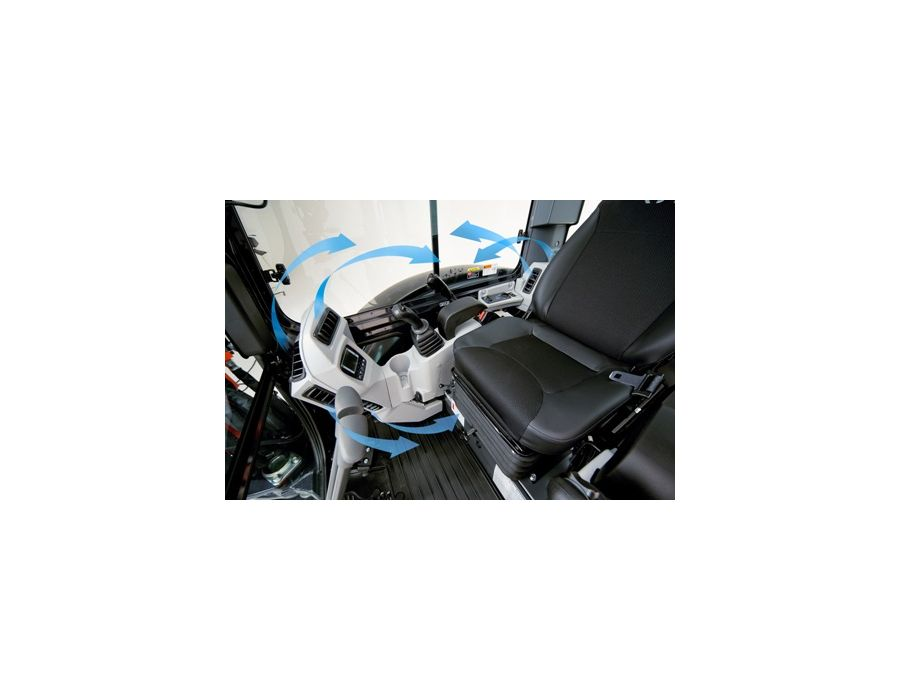 Redesigned Cab - The deluxe cab features improved climate control and air flow, wider entrance, suspension seat,and repositioned instrument panel.