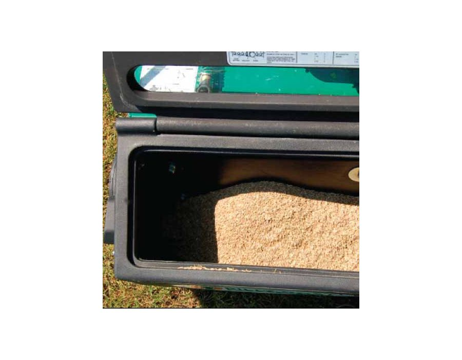 25-lb Front Mounted Poly Seed Box - With on-board customer instructions to help set drop rates for various seed. The box and agitator bar won't rust or dent – standard on the overseeder.